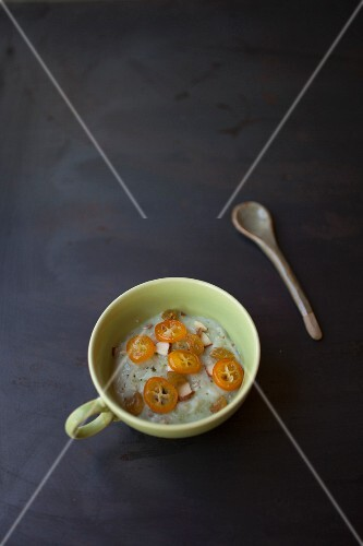 Jade rice with candied kumquats