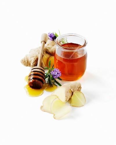 A jar of ginger and lavender honey