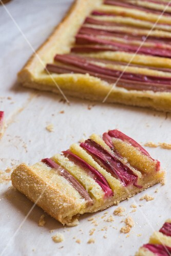 A rectangular rhubarb tart
