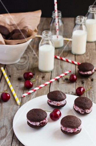 Homemade cherry whoopie pies