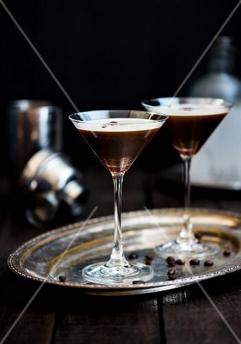 Two espresso Martinis on a silver tray