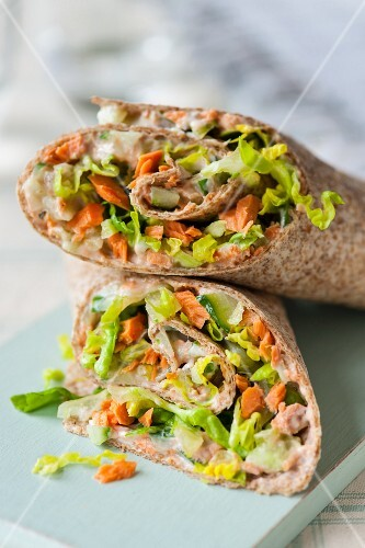 Salmon and cucumber wraps