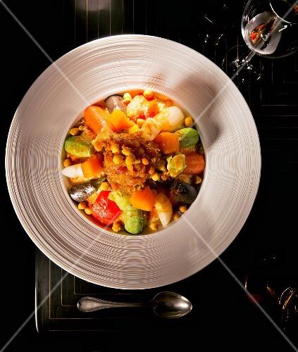 Oriental lamb couscous with seven vegetables