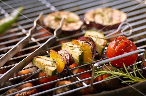 Grilled vegetables skewers on a barbecue