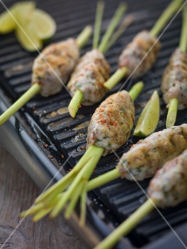Lemongrass skewers with trout