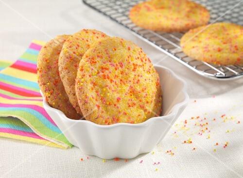 Lemon biscuits with sugar sprinkles