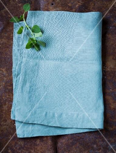 A blue cloth as a background