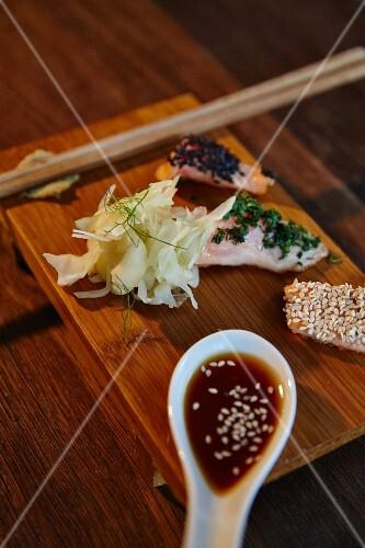 Salmon trout taki in the restaurant 'Upper Eat Side' in Munich