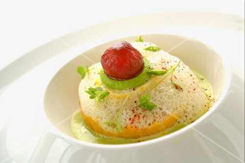 Steamed tofu with wasabi and tomatoes