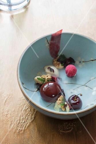 A creative dessert by Tohru Nakamura from Geisels Werneckhof in Munich, Nakamura Food