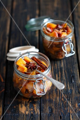 Persimmon chutney with red onions, raisins, ginger and chilli