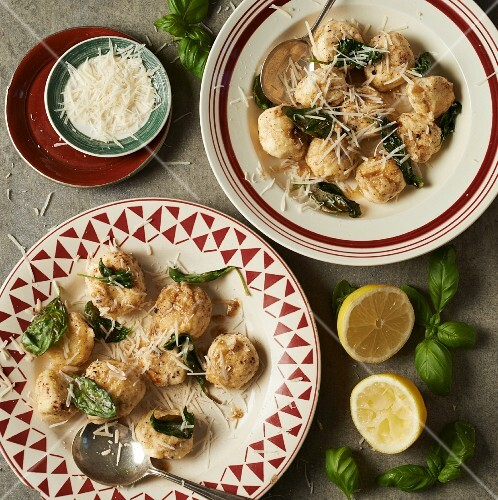 Gnudi with sage butter, basil and grated cheese