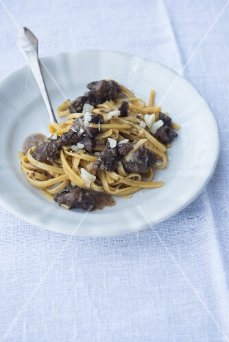 Tagliatelle with liver and Parmesan cheese