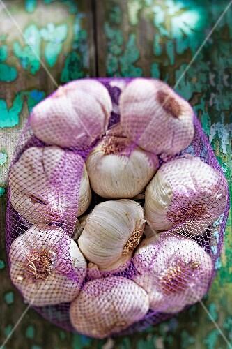 Garlic bulbs in a net