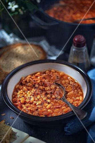 A bowl of fasolka po bretonsku (Polish bean stew)