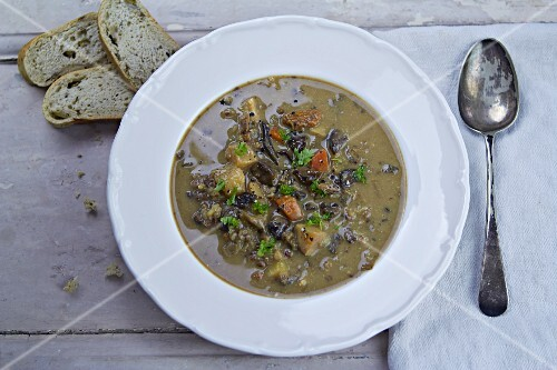 Mushroom soup with herbs (seen from above)