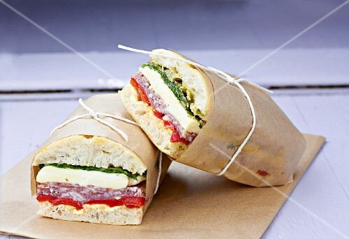 Italian sandwiches wrapped in paper