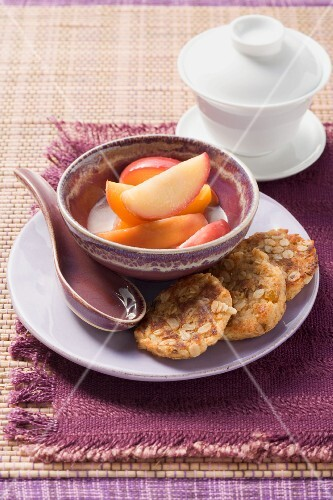 Almond cakes with peach wedges