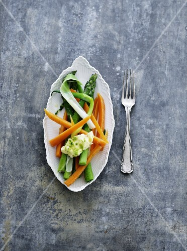 Spring vegetables with herb butter