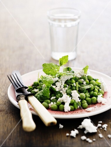 Pea salad with feta cheese and mint