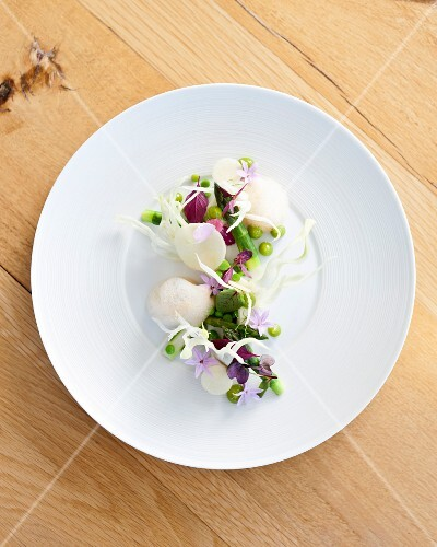 Fennel panna cotta with vegetables
