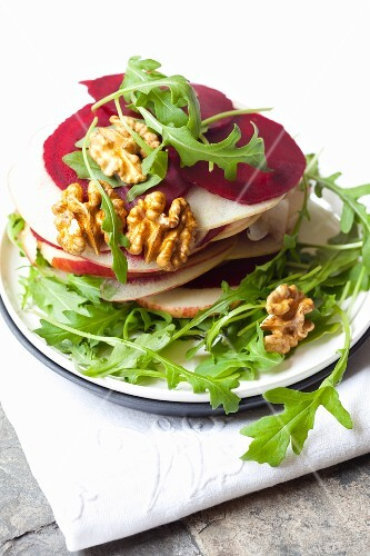 Beetroot carpaccio with apples, nuts and rocket