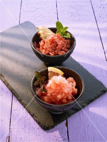 Campari and grapefruit granita, and rhubarb granita