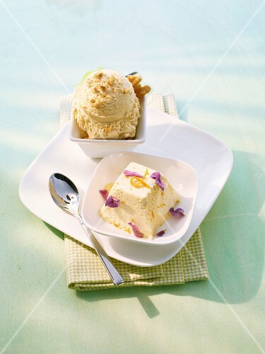 Nut ice cream and lavender ice cream