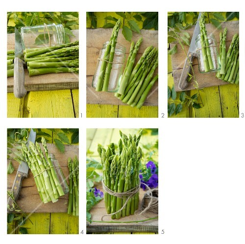 Instructions for decorating a screw-top jar with green asparagus