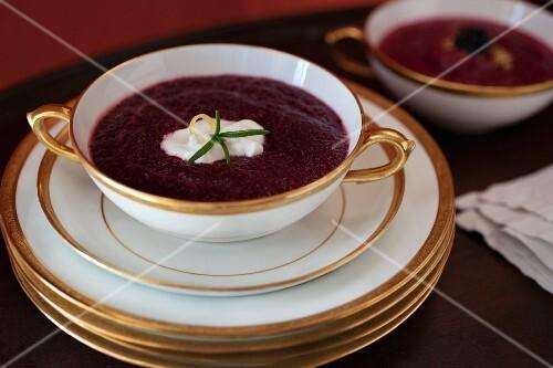 Borscht in an elegant porcelain soup cup with a golden rim