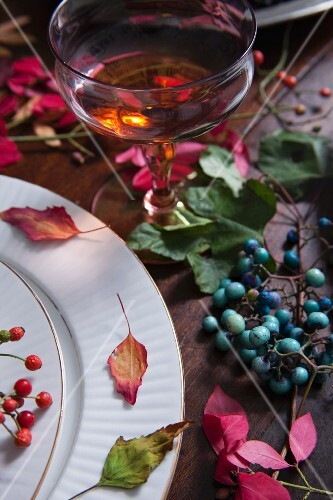 A glass of sherry on an autumnal table