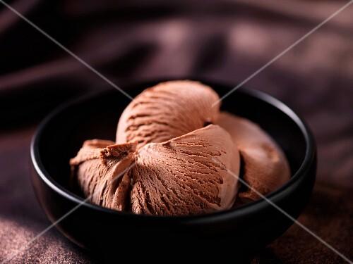 Chocolate ice cream in a black ceramic bowl