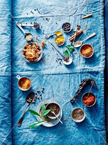 Various spices on a blue cloth
