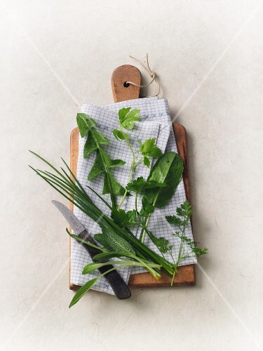 Fresh herbs with a knife on a wooden board