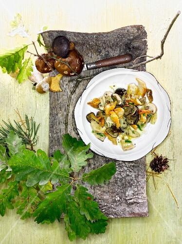 Autumnal mushroom salad with orange vinaigrette