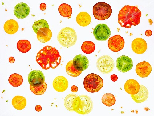 Various different coloured, back-lit tomato slices