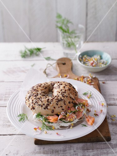 Lox and Cream Cheese Bagel Sandwich; White Background
