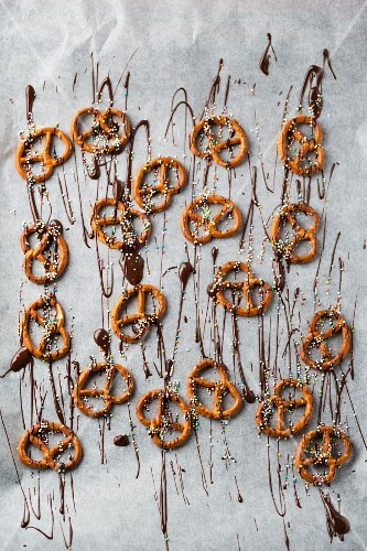 Salted pretzels with chocolate and sugar sprinkles as fun snacks