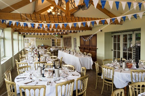 Pub conservatory decorated for wedding reception in West Yorkshire, England