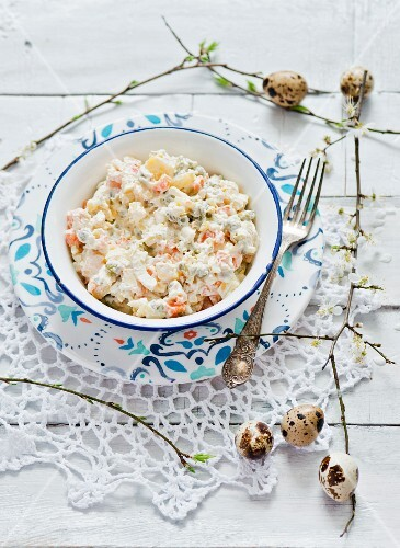 Traditional vegetable salad with mayonnaise for Easter (Poland)