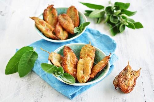 Deep-fried sage leaves