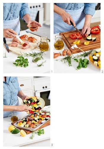 Chicken fillets with Mediterranean oven-roasted vegetables being prepared