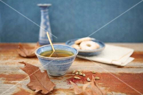 Spiced tea and butter biscuits