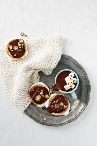 Hot chocolate with marshmallows and smores