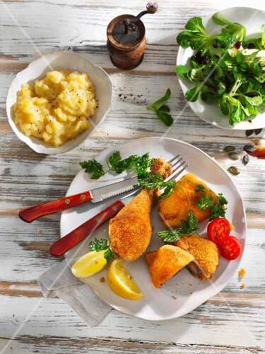 Viennese baked chicken with potato salad