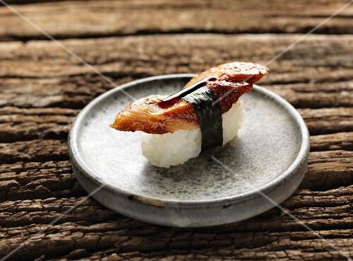 Nigiri sushi with teriyaki chicken