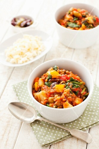 Lentil and olive stew with feta cheese