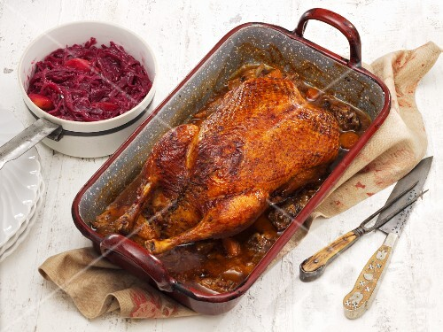 Roast duck with red cabbage