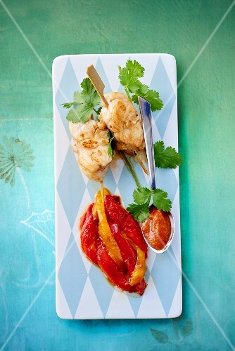 Monk fish skewers with pickled peppers