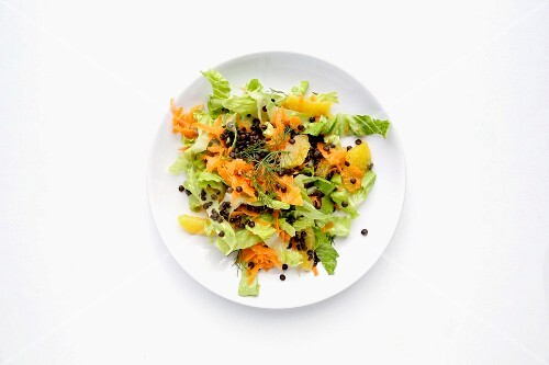 Carrot and orange salad with lentils, allspice and chicory (seen from above)